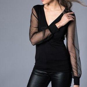 Milan KissBlack Sheer-Sleeve Surplice Top S